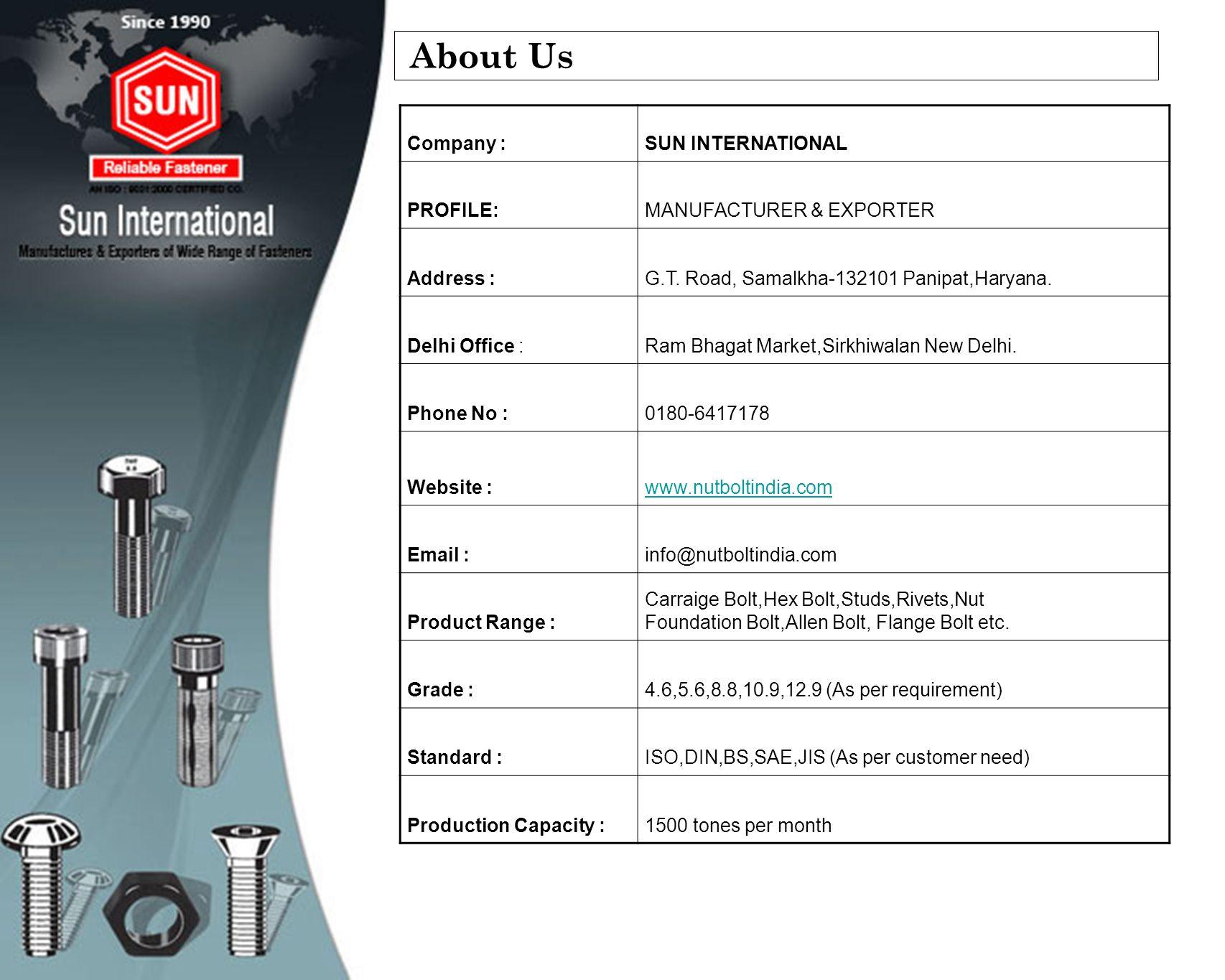 About Us Company : SUN INTERNATIONAL PROFILE: MANUFACTURER & EXPORTER