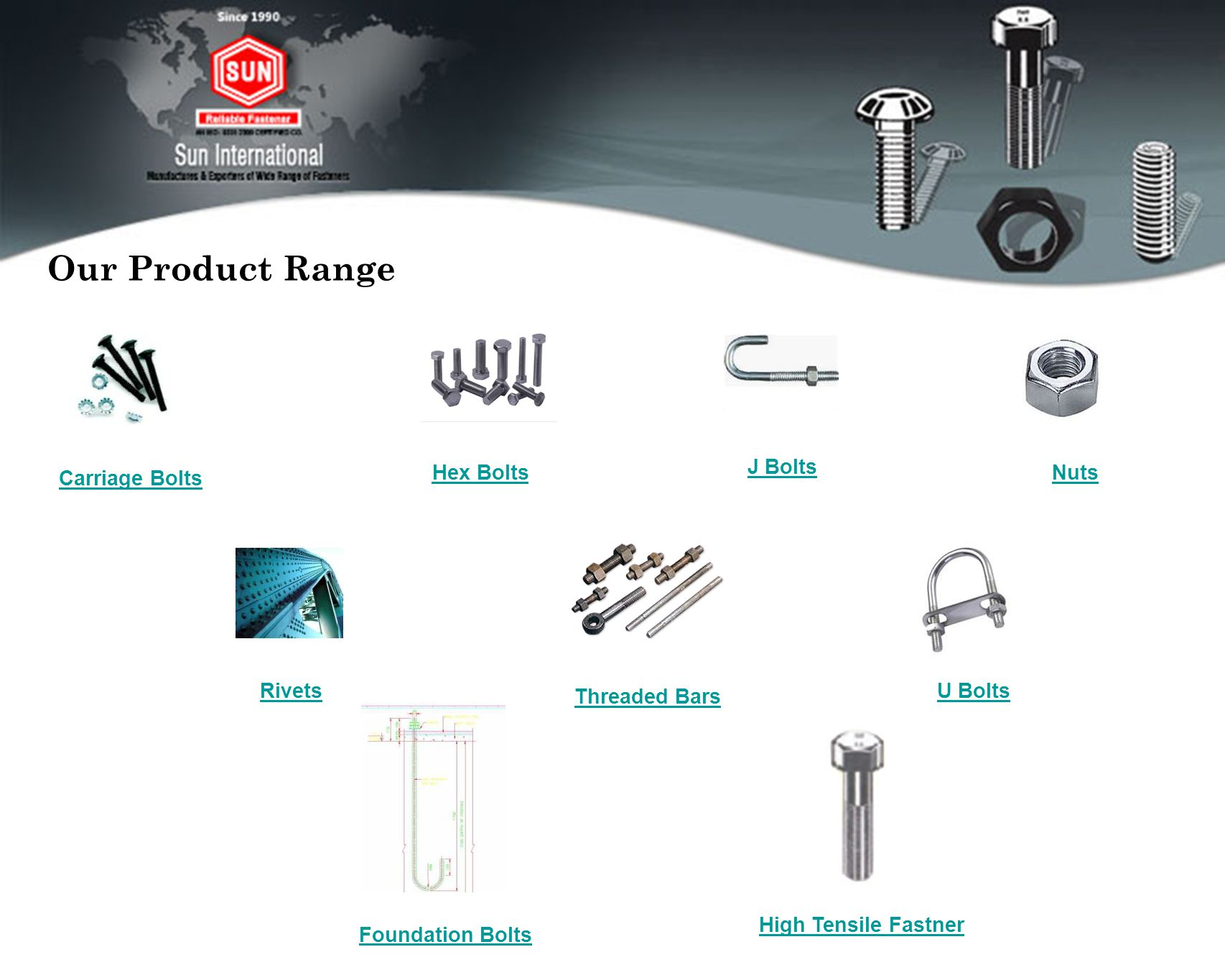 Our Product Range J Bolts Hex Bolts Nuts Carriage Bolts Rivets U Bolts