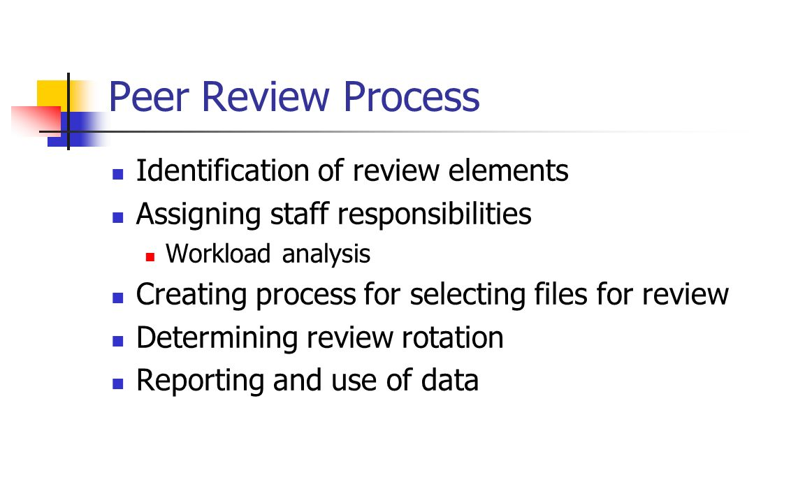Peer Review Process Identification of review elements
