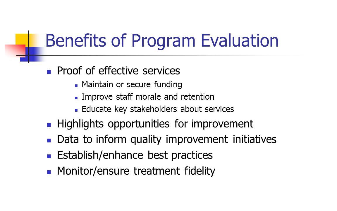 Benefits of Program Evaluation