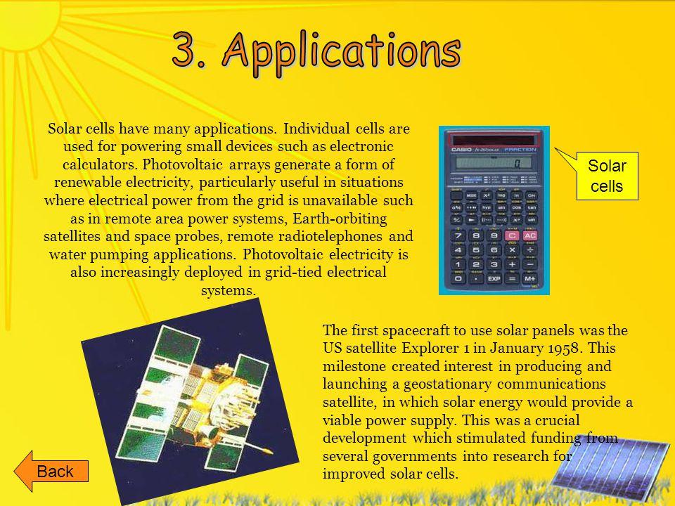3. Applications Solar cells Back