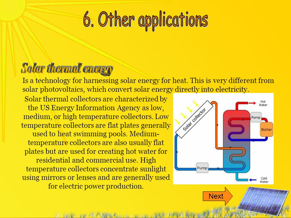 6. Other applications Solar thermal energy