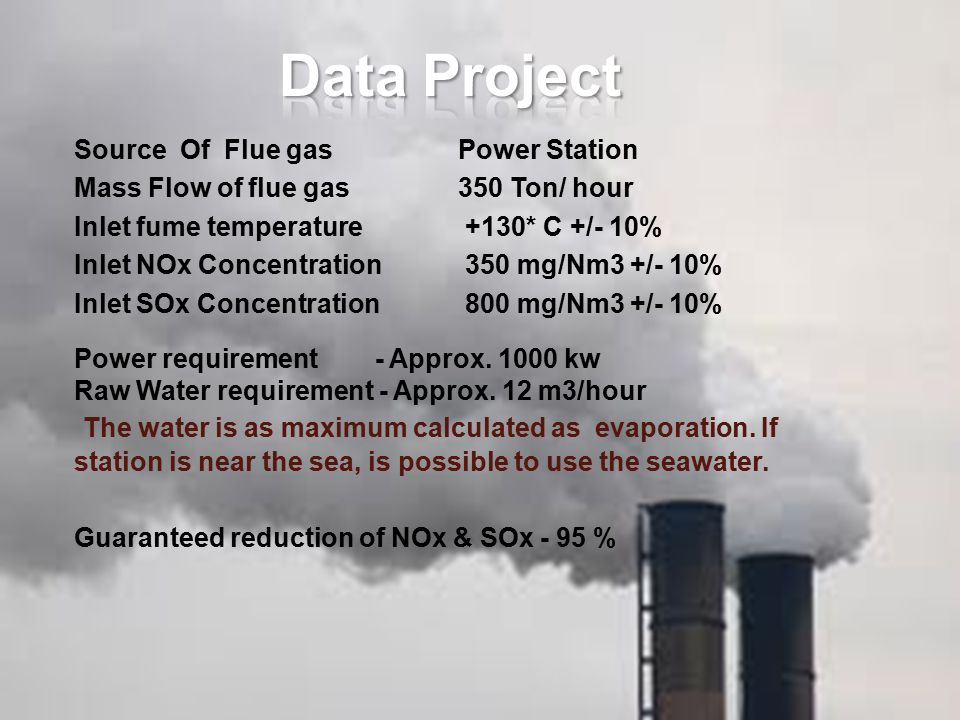 Data Project Source Of Flue gas Power Station. Mass Flow of flue gas 350 Ton/ hour. Inlet fume temperature +130* C +/- 10%