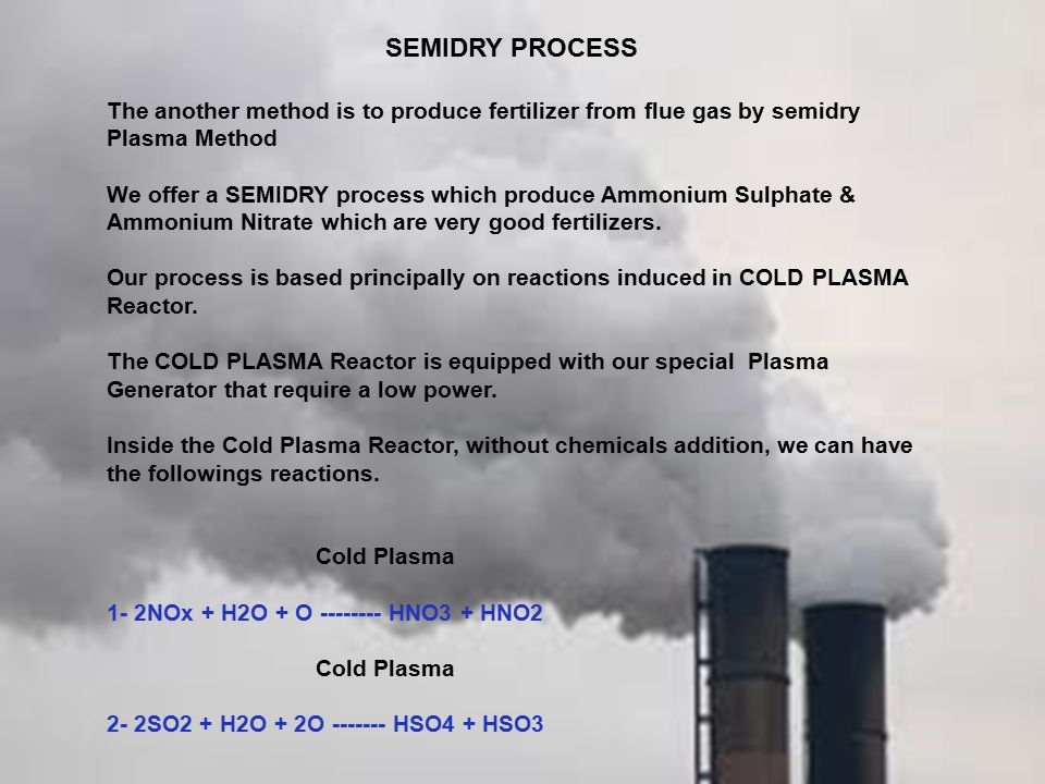 SEMIDRY PROCESS The another method is to produce fertilizer from flue gas by semidry Plasma Method.