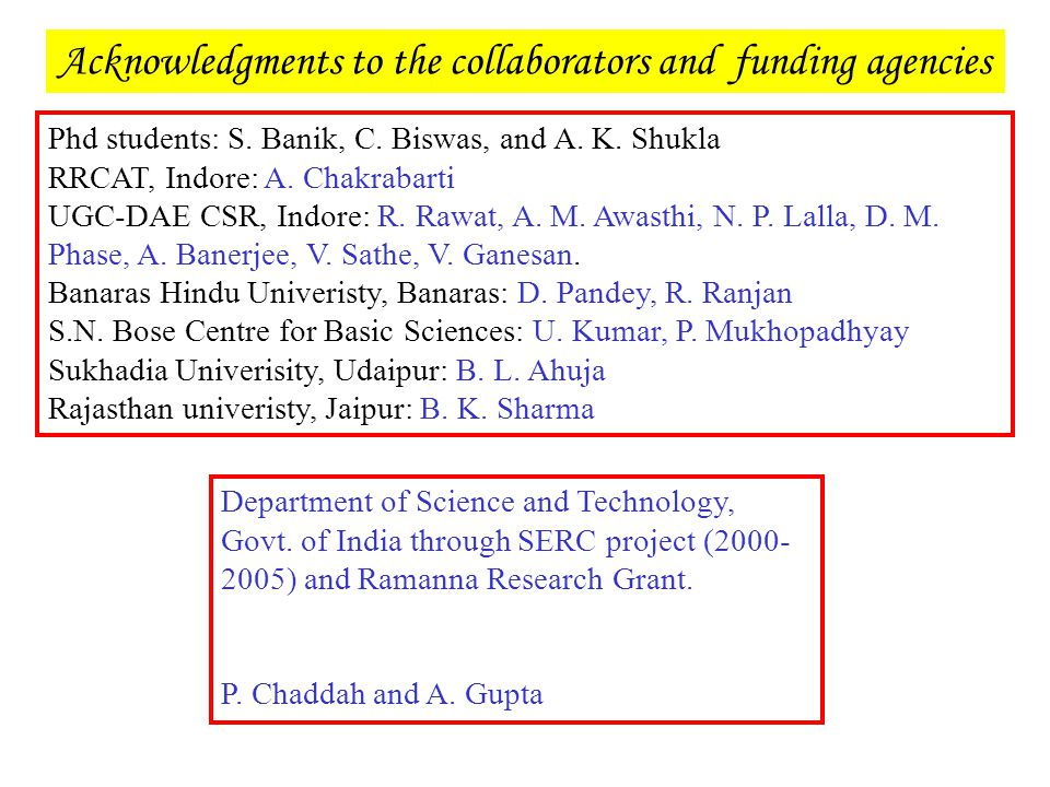 Acknowledgments to the collaborators and funding agencies