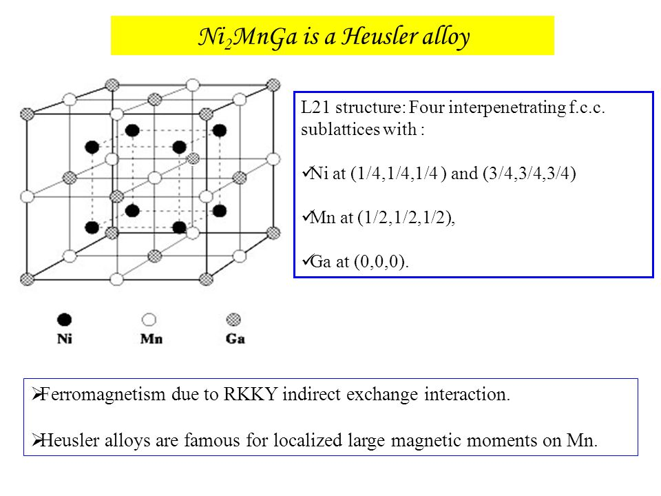 Ni2MnGa is a Heusler alloy