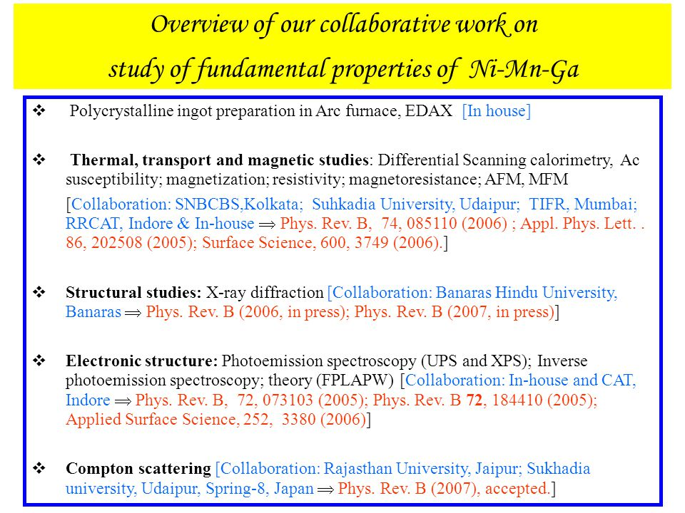 Overview of our collaborative work on