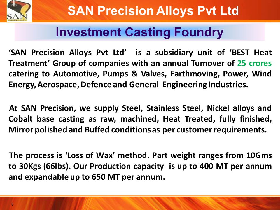 SAN Precision Alloys Pvt Ltd Investment Casting Foundry