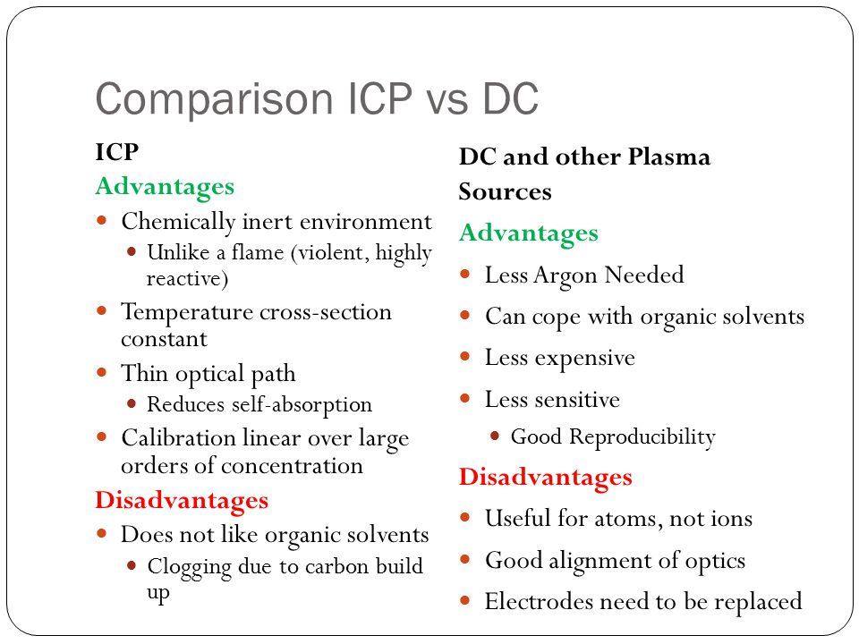 Comparison ICP vs DC ICP Advantages Chemically inert environment
