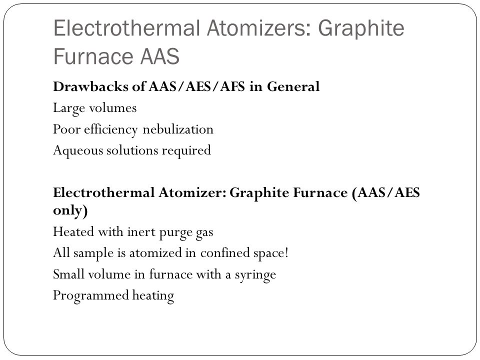 Electrothermal Atomizers: Graphite Furnace AAS