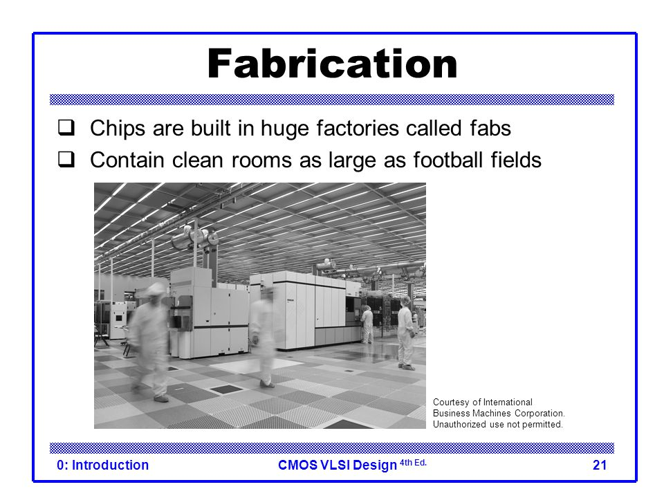 Fabrication Chips are built in huge factories called fabs