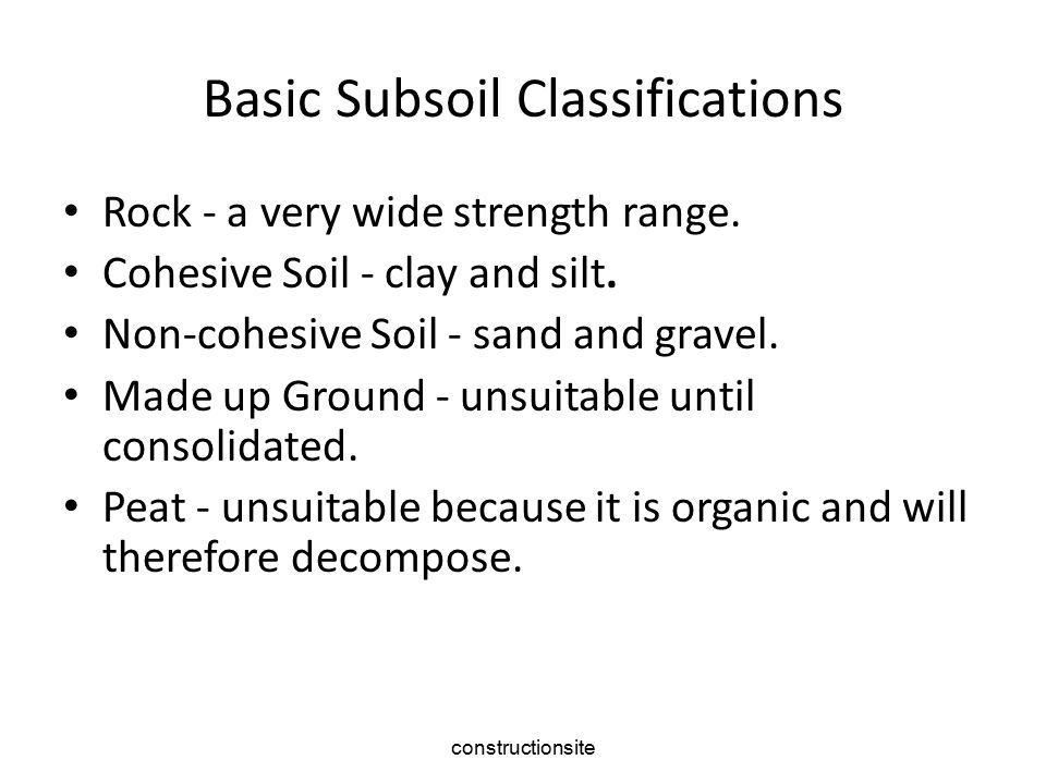 Basic Subsoil Classifications