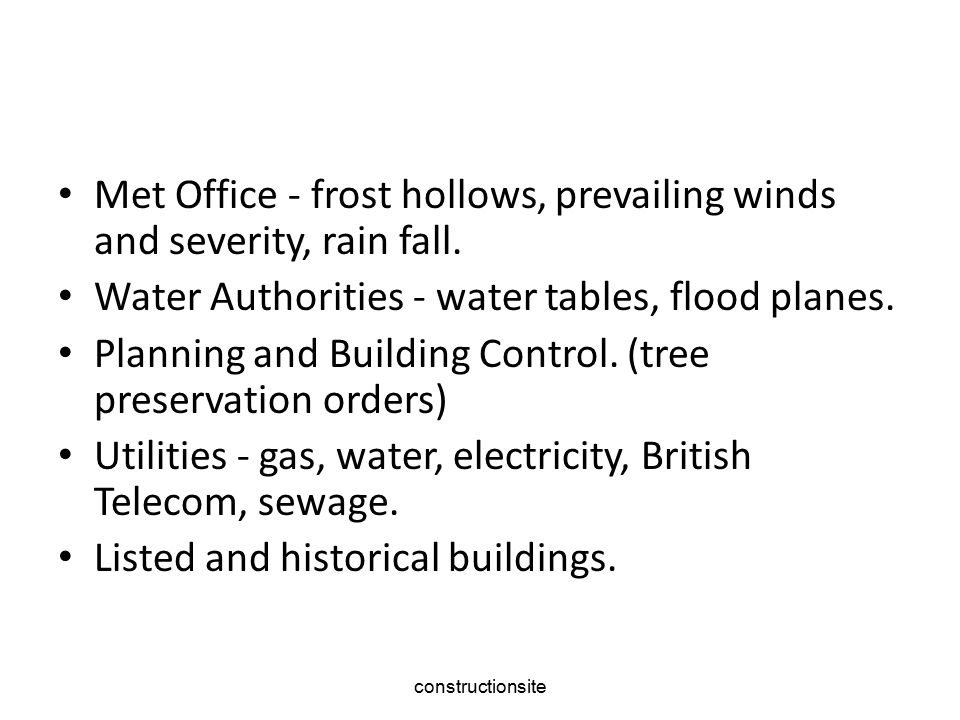 Met Office ‑ frost hollows, prevailing winds and severity, rain fall.