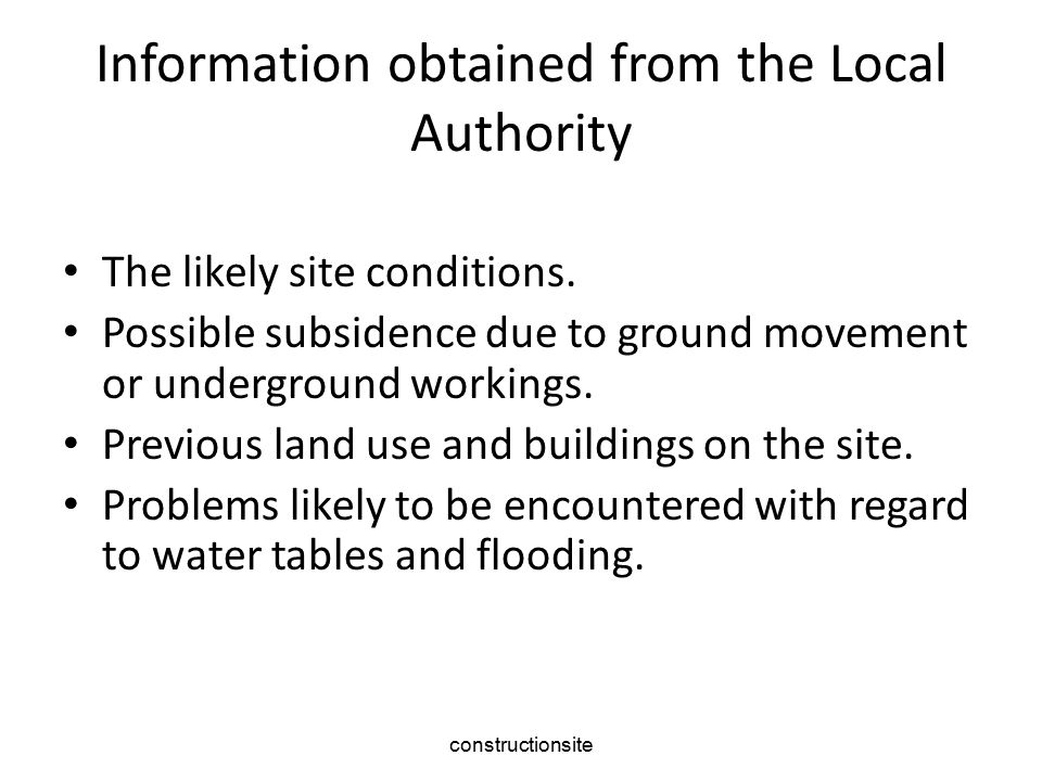 Information obtained from the Local Authority