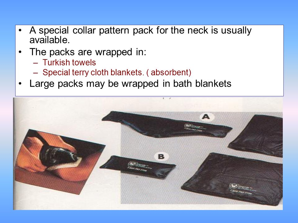 A special collar pattern pack for the neck is usually available.