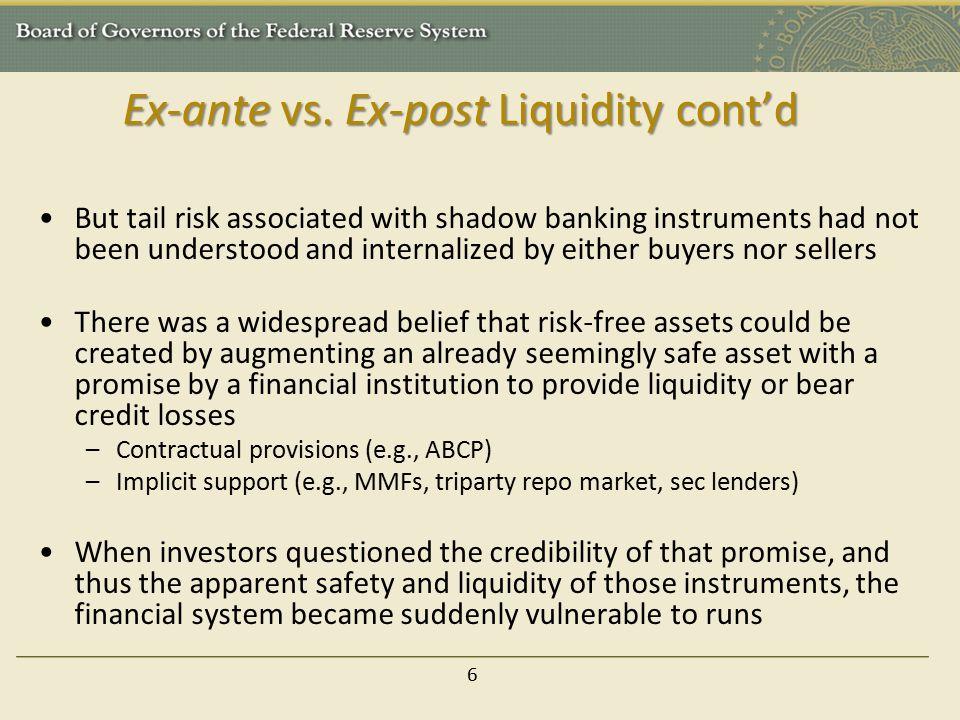 Ex-ante vs. Ex-post Liquidity cont'd
