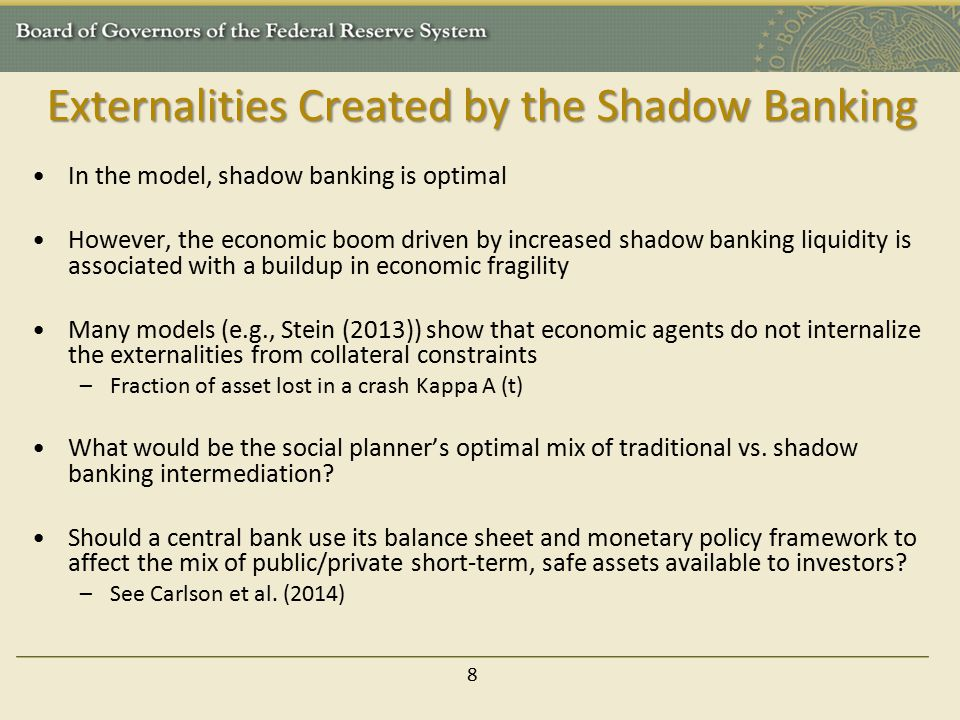 Externalities Created by the Shadow Banking
