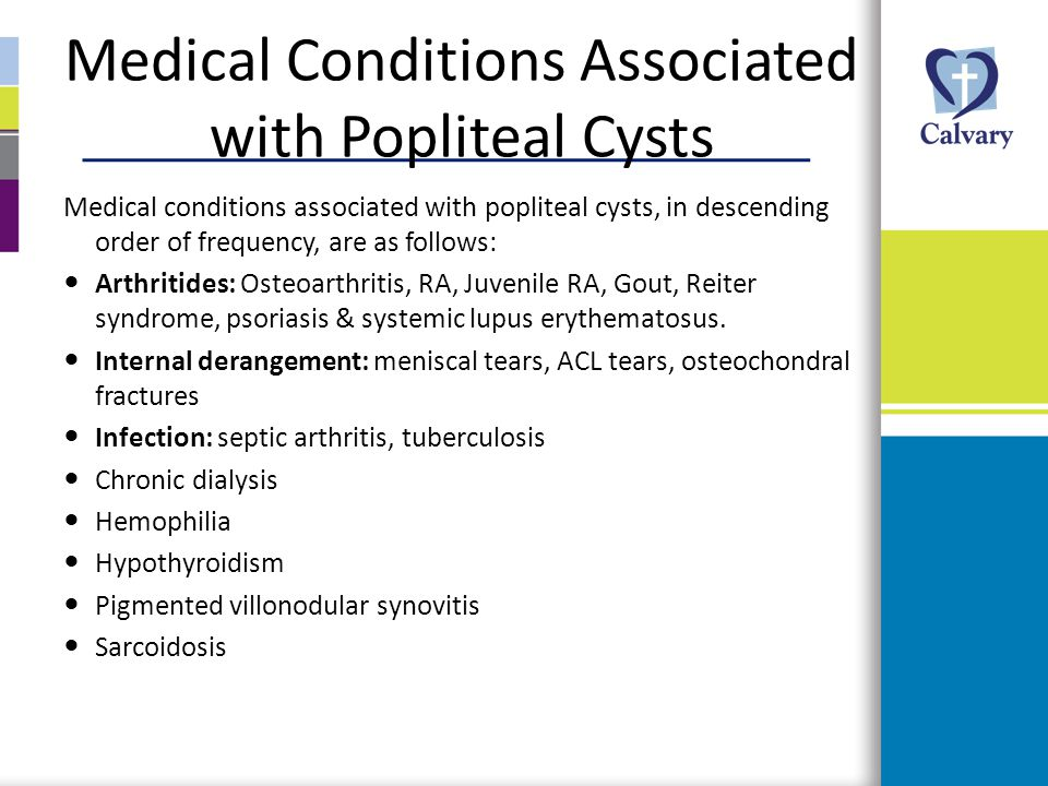 Medical Conditions Associated with Popliteal Cysts