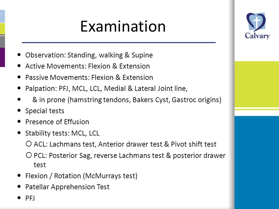 Examination Observation: Standing, walking & Supine