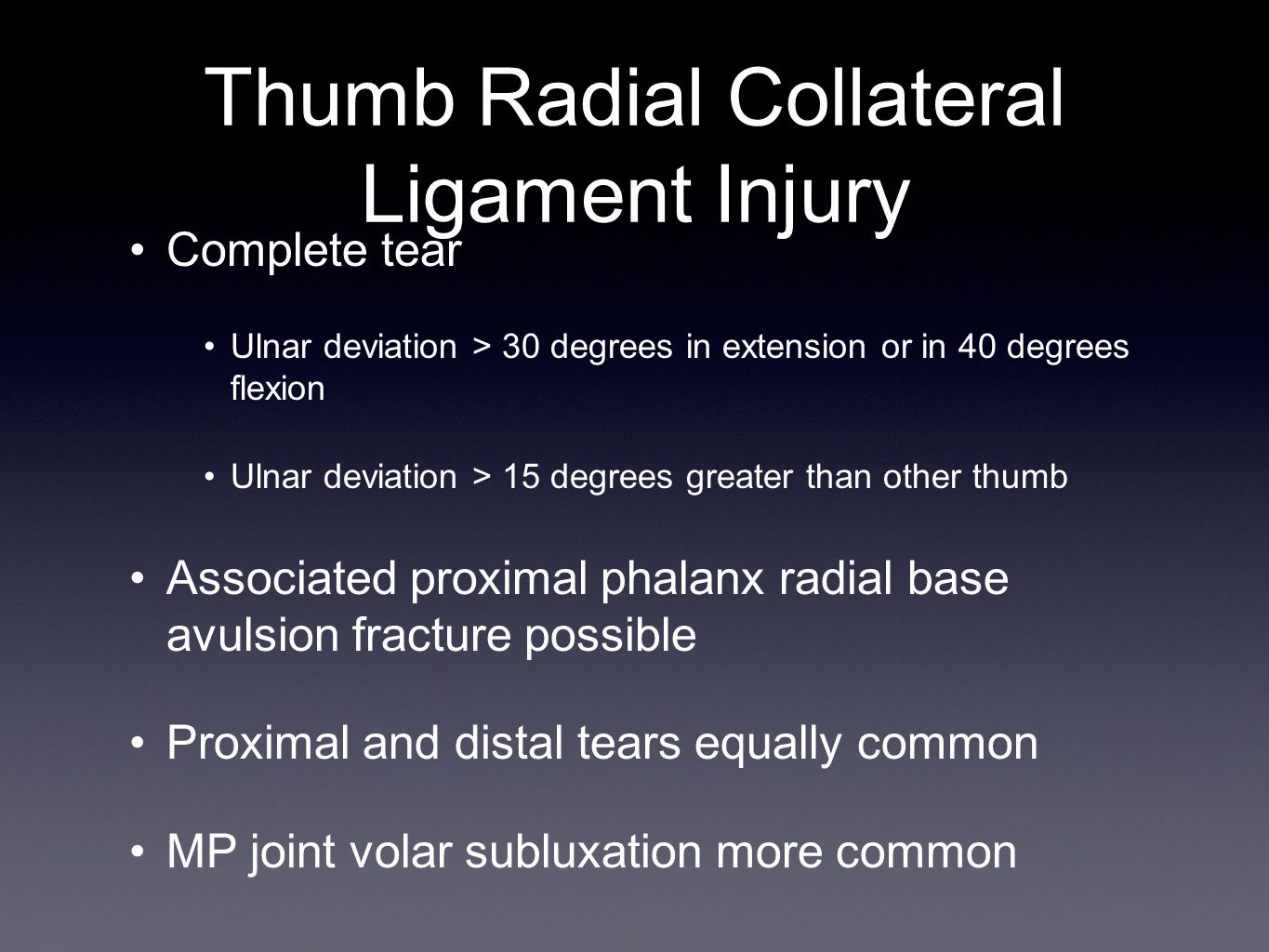 Thumb Radial Collateral Ligament Injury