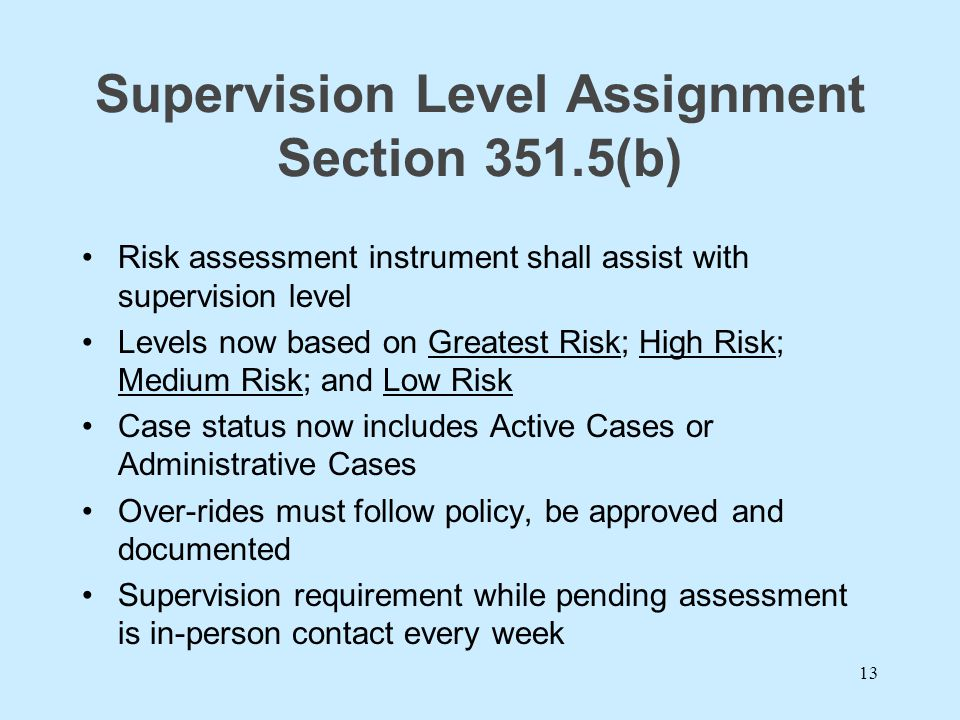 Supervision Level Assignment Section 351.5(b)
