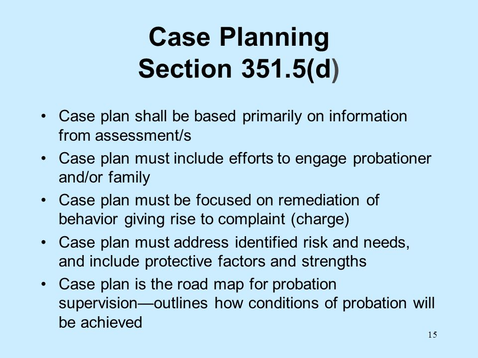 Case Planning Section 351.5(d)