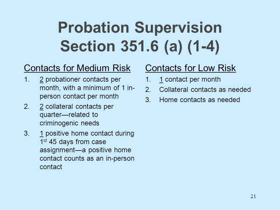 Probation Supervision Section 351.6 (a) (1-4)