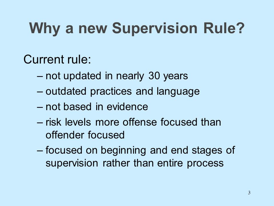 Why a new Supervision Rule