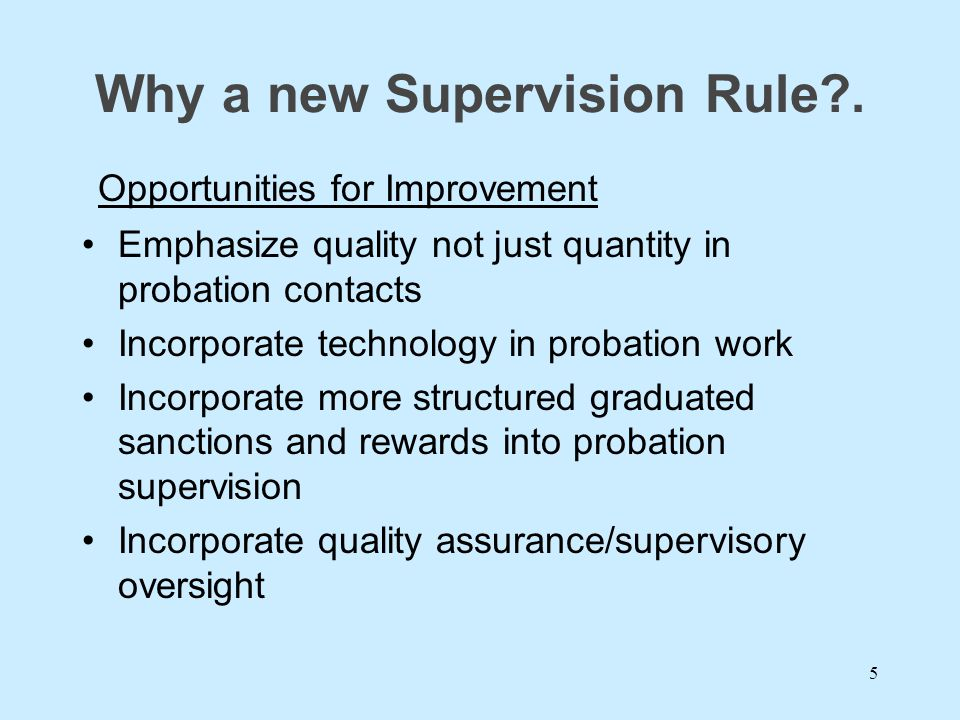 Why a new Supervision Rule .