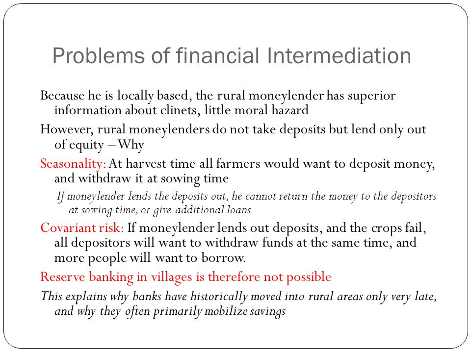 Problems of financial Intermediation