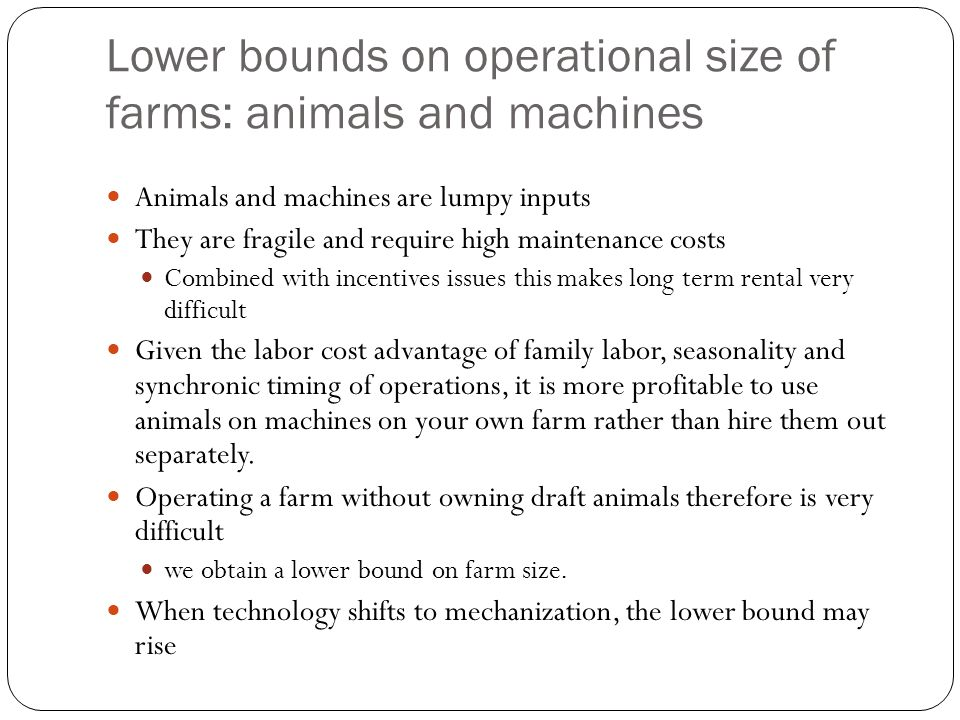 Lower bounds on operational size of farms: animals and machines