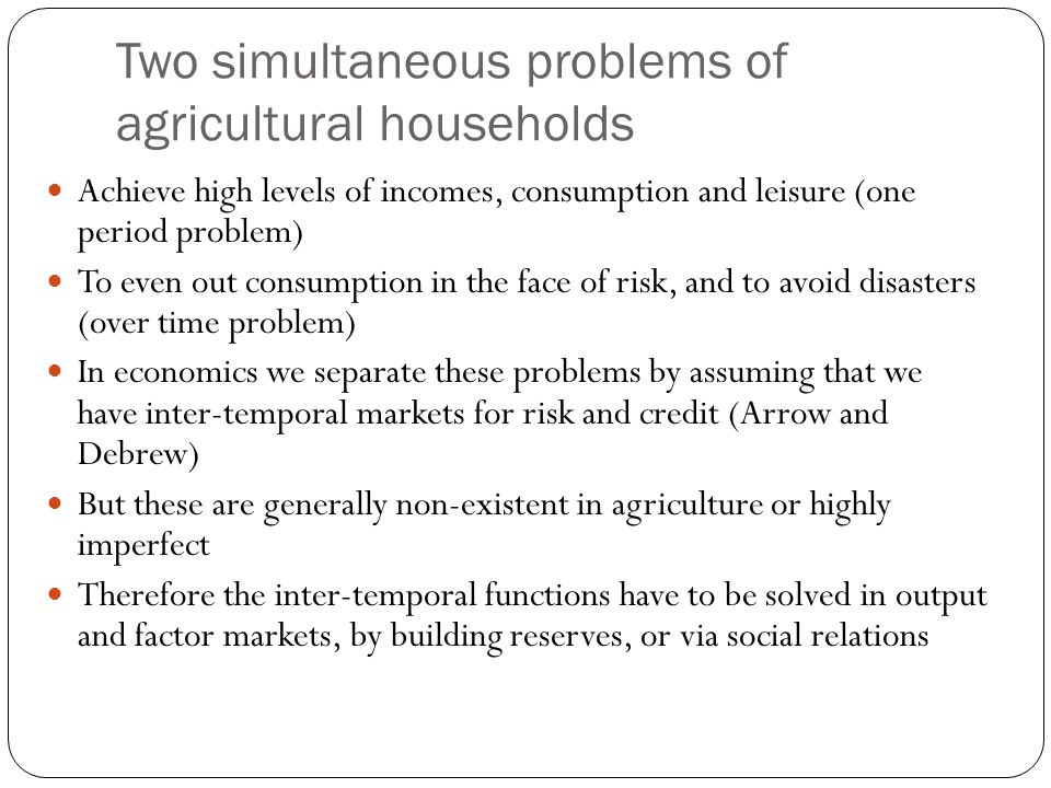 Two simultaneous problems of agricultural households