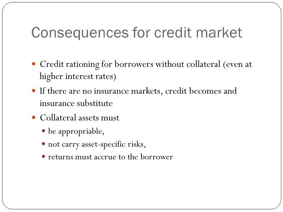 Consequences for credit market