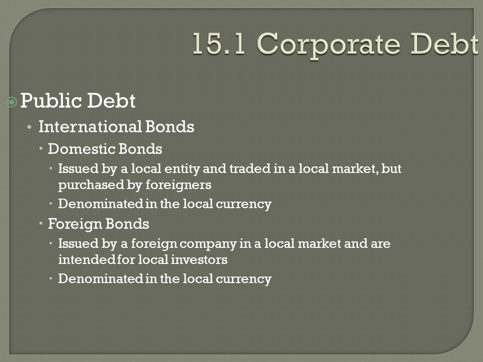 15.1 Corporate Debt Public Debt International Bonds Domestic Bonds