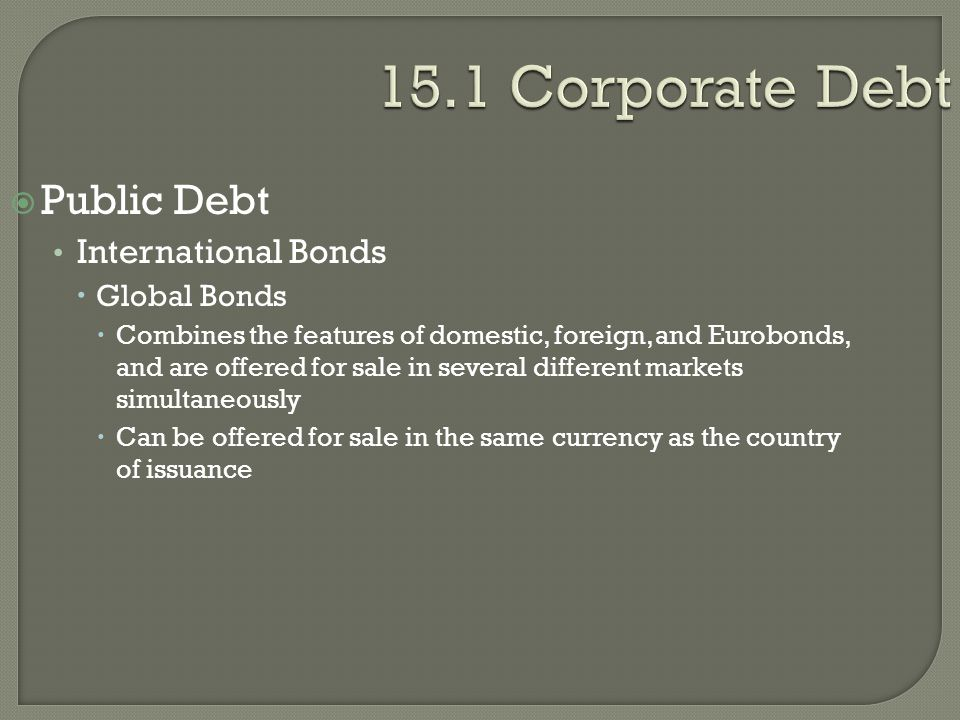 15.1 Corporate Debt Public Debt International Bonds Global Bonds