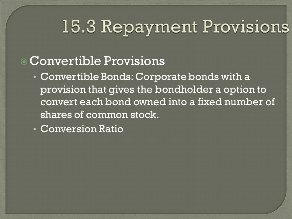 15.3 Repayment Provisions Convertible Provisions