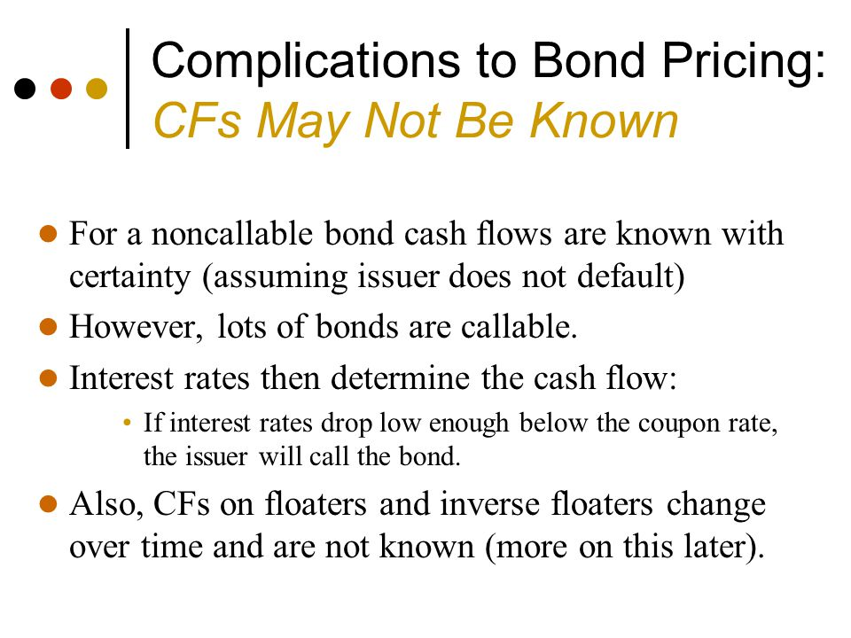 Complications to Bond Pricing: CFs May Not Be Known