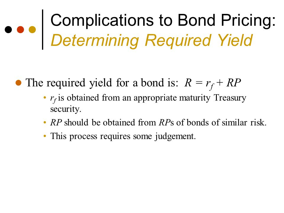 Complications to Bond Pricing: Determining Required Yield