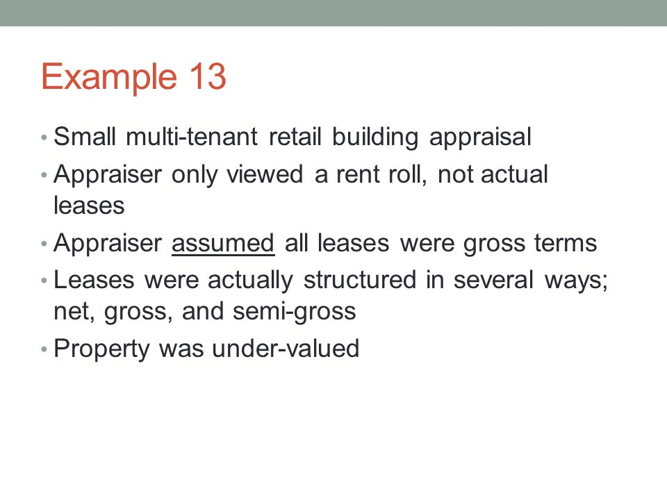 Example 13 Small multi-tenant retail building appraisal
