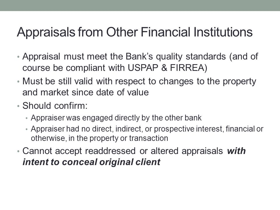 Appraisals from Other Financial Institutions