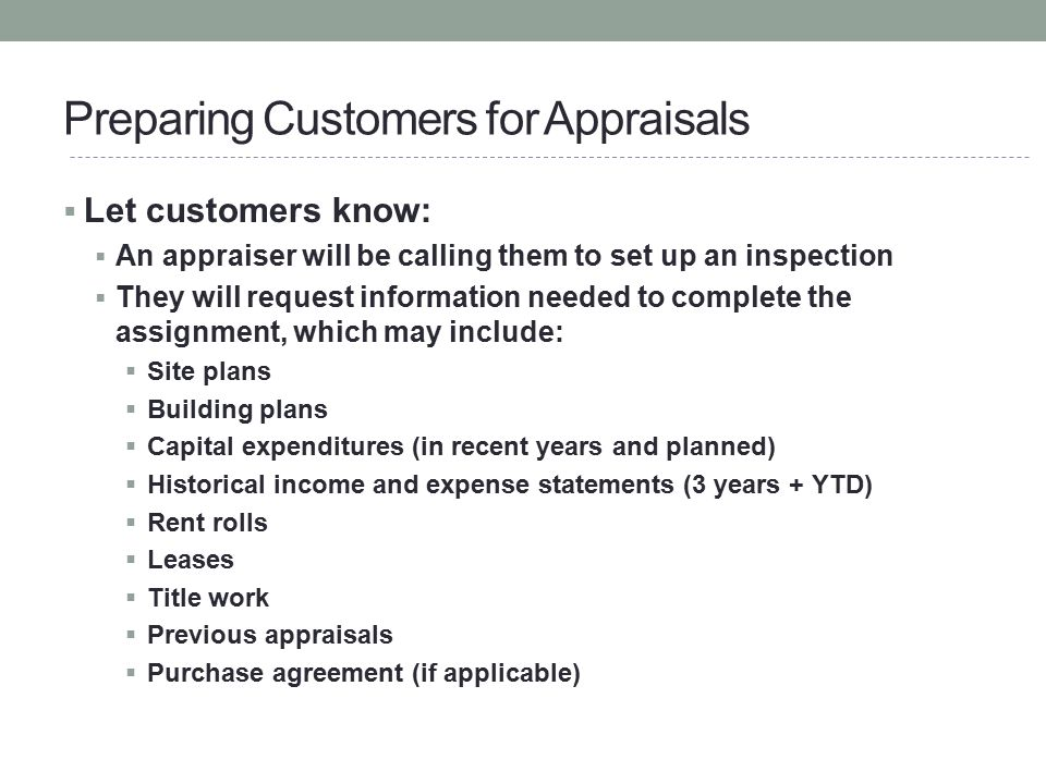 Preparing Customers for Appraisals