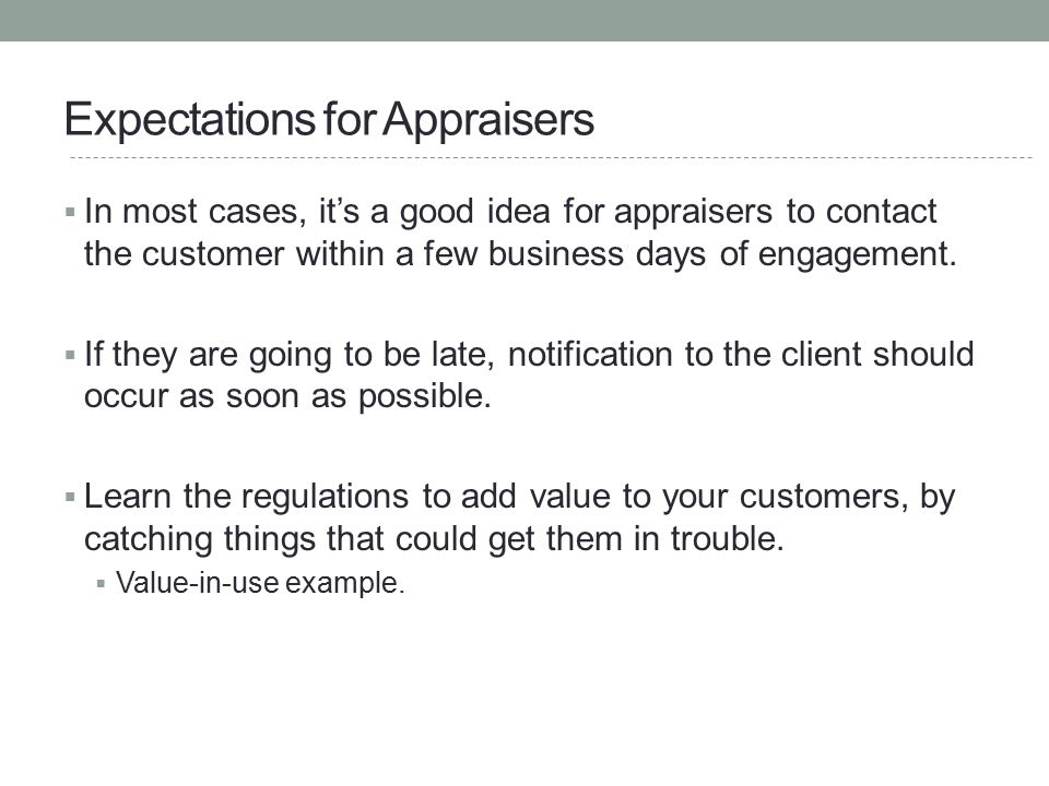 Expectations for Appraisers