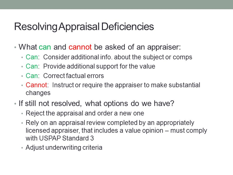 Resolving Appraisal Deficiencies