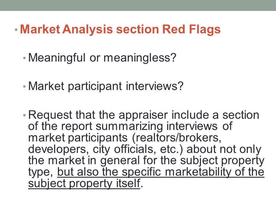 Market Analysis section Red Flags
