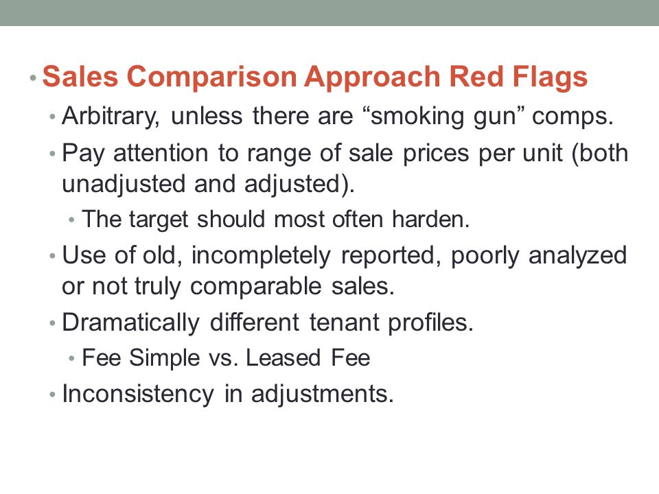 Sales Comparison Approach Red Flags