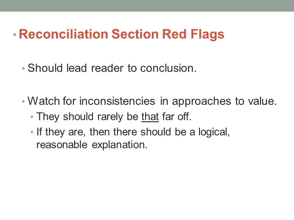 Reconciliation Section Red Flags