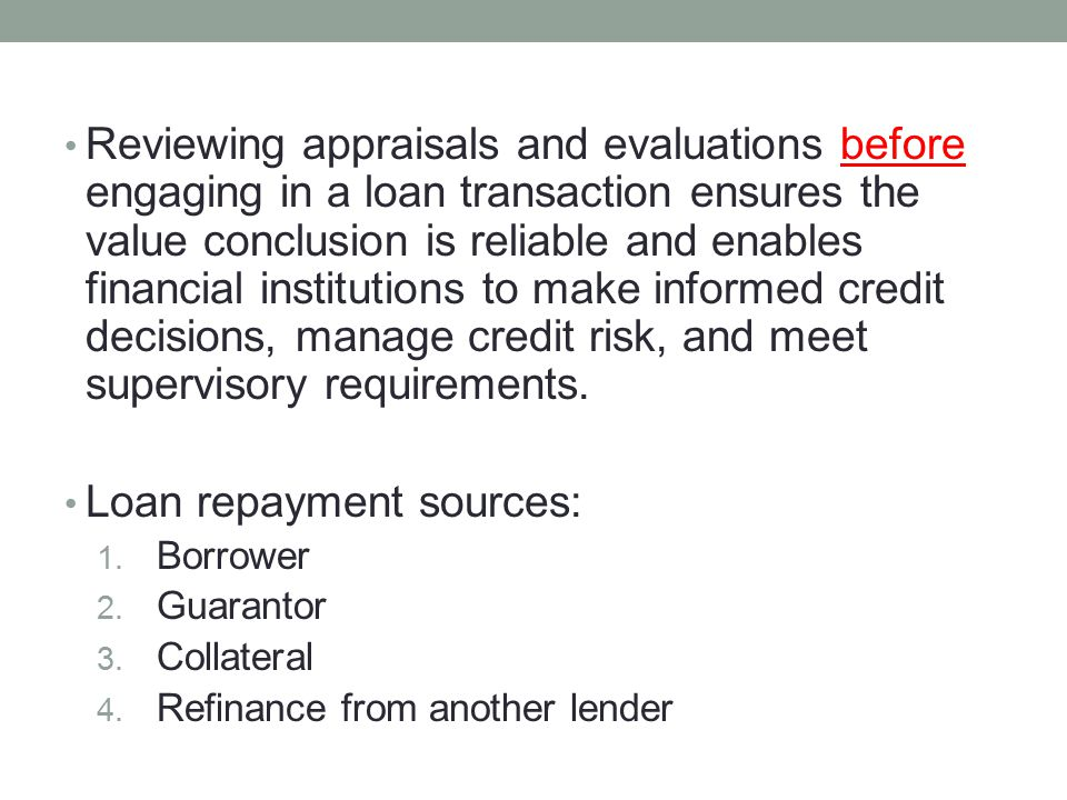 Loan repayment sources:
