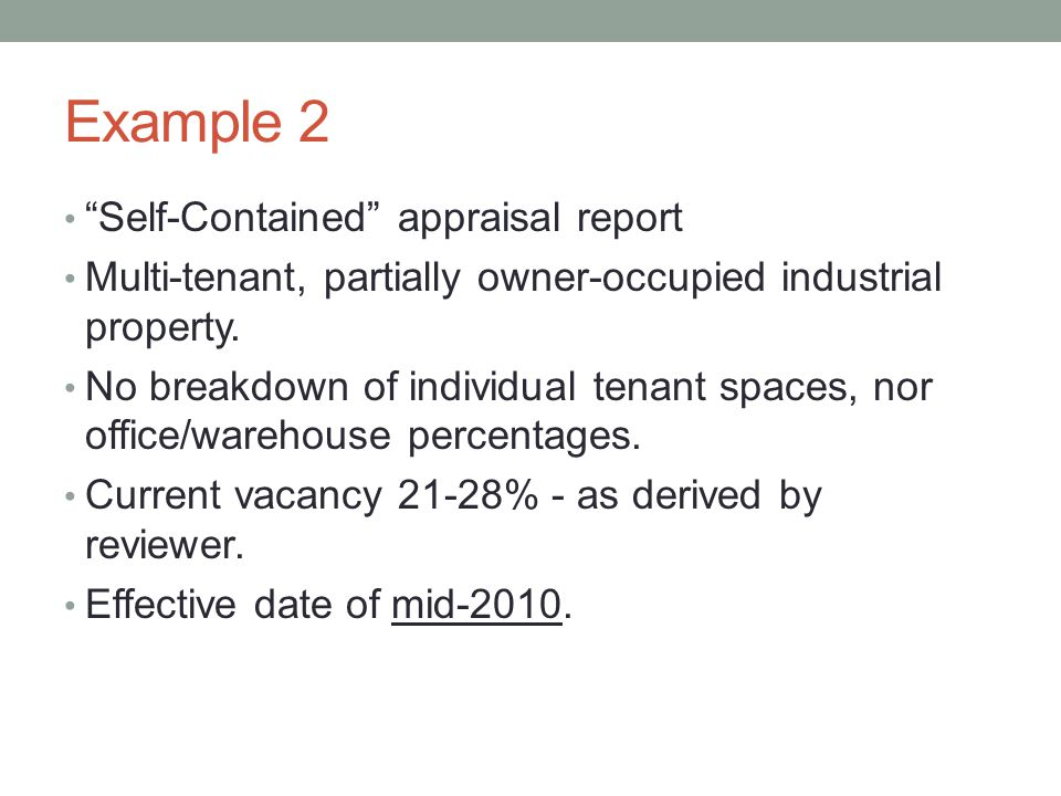 Example 2 Self-Contained appraisal report