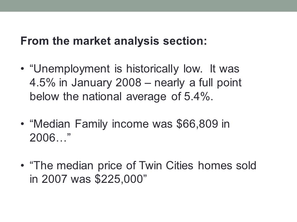 From the market analysis section: