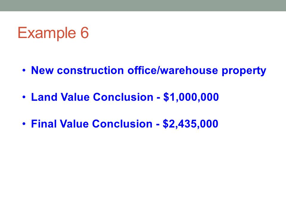 Example 6 New construction office/warehouse property
